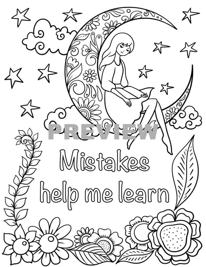 Positive affirmations colouring pages for kids - Messy Yet ...