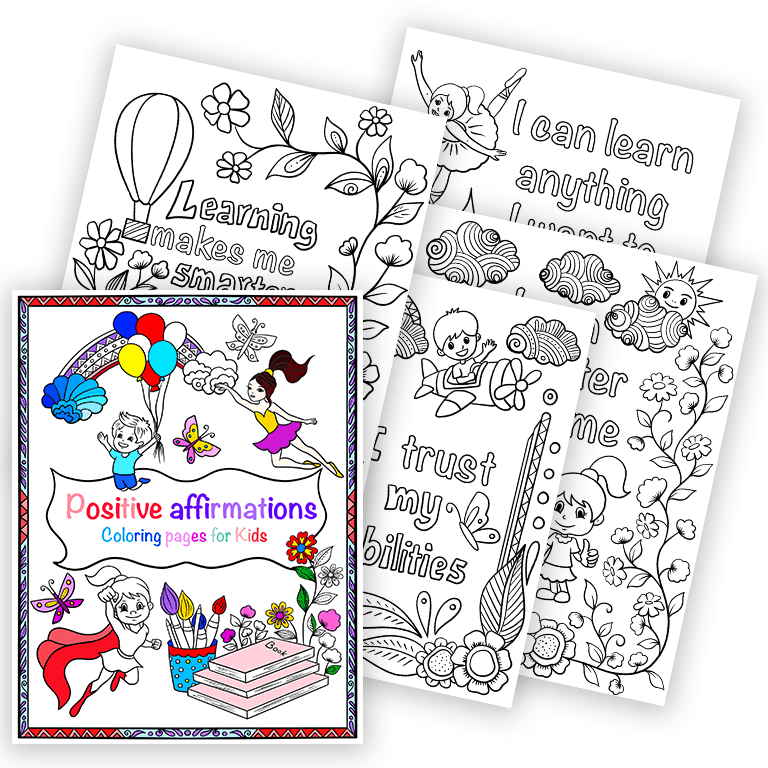 Positive Affirmations Colouring Pages For Kids - Messy Yet Lovely