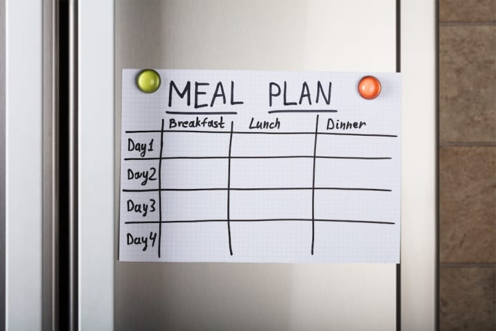 Meal plan on the refrigerator
