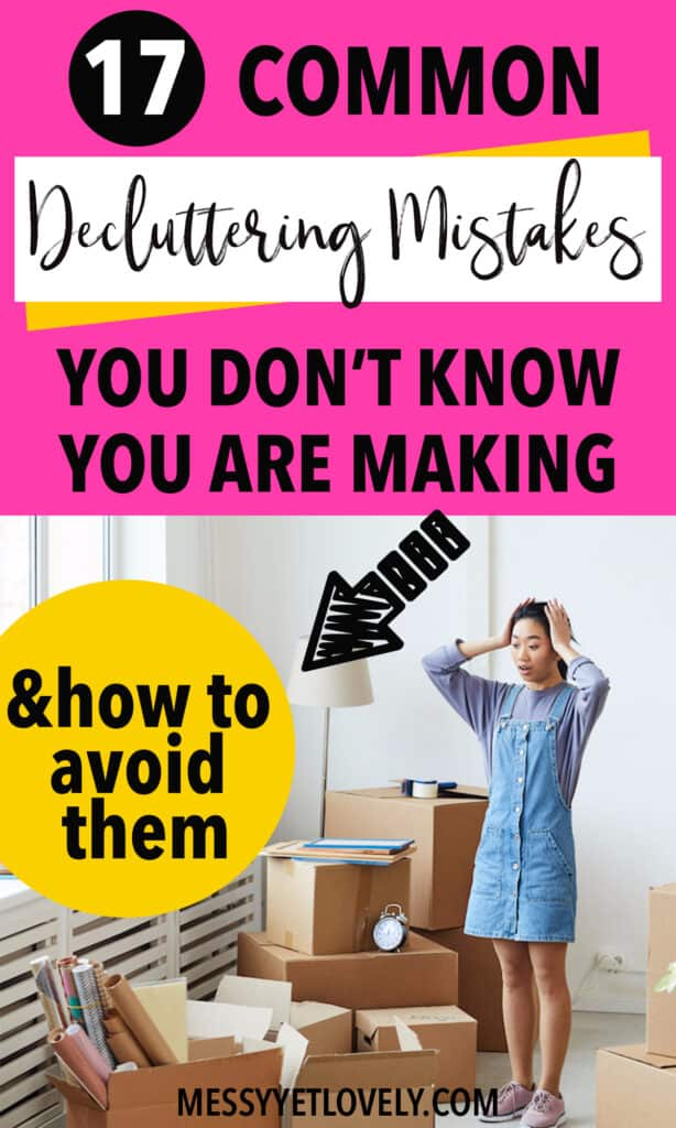 A woman overwhelmed due to decluttering mistakes
