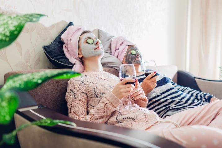 moms indulging in self-care